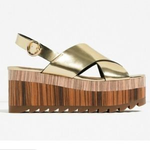 Zara shiny gold criss cross platforms size 9